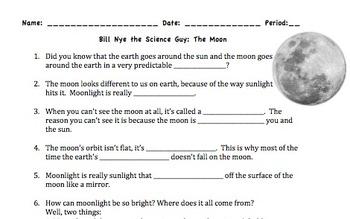 Bill Nye Moon Video Worksheet