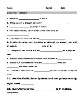 Bill Nye Motion Guide Sheet