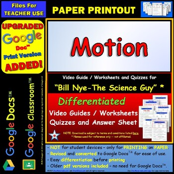 Worksheets Motion Worksheets motion worksheet bill nye answer sheet by star materials