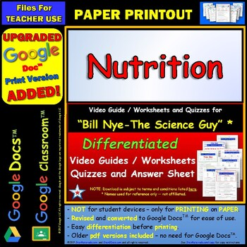 Bill Nye - Nutrition – Worksheet, Answer... by Star Materials ...