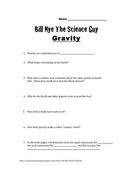 bill nye questions gravity 16q 39 s key by nicole paul teachers pay teachers. Black Bedroom Furniture Sets. Home Design Ideas