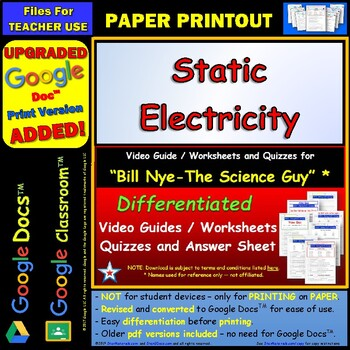 Printables Bill Nye Static Electricity Worksheet bill nye static electricity worksheet by star materials answer sheet a