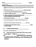Bill Nye Volcanoes Video Fill In Guide Sheet