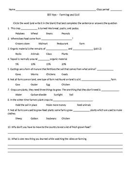 Bill Nye the Science Guy Farming and soil conservation worksheet