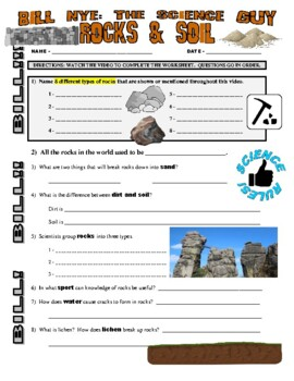 Bill Nye the Science Guy : ROCKS & SOIL (video worksheet)