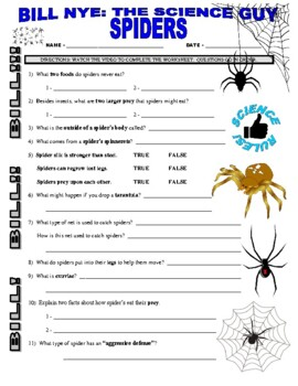 Bill Nye the Science Guy : SPIDERS (video worksheet)