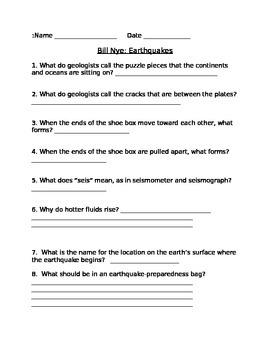 Bill Nye's Earthquake Video Worksheet Lesson 6