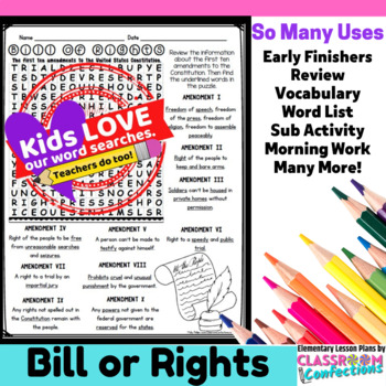 Bill of Rights Activity: Bill of Rights Word Search