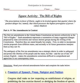 Bill of Rights Jigsaw Activity