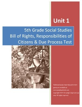 Bill of Rights Test AND Completed Study Guide--5th Grade S