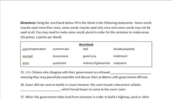 Bill of Rights Test (with Study Guide and Answer Key)