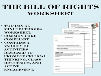 The Bill of Rights worksheet - US History Common Core
