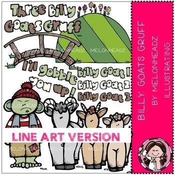Melonheadz: Billy Goats Gruff clip art - LINE ART