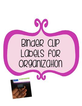 Binder Clip Labels for Organization