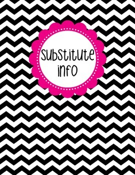 Binder Cover - Black & White Chevron with Magenta Substitu