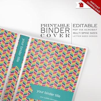 Binder Cover - Printable Editable Rainbow Chevron Theme -