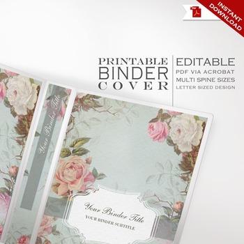 Binder Cover - Printable Editable Vintage Theme - Multiple