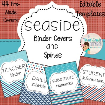Nautical Colors Binder Covers {Editable}