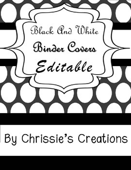 Binder Covers: Editable, Black and white