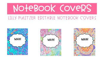 Binder Covers Lilly Pulitzer (editable)