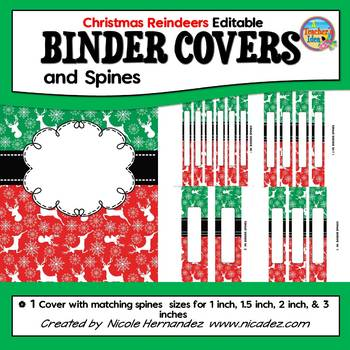 Binder Covers {EDITABLE Reindeer Themed}