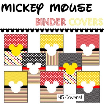 Binder Covers & Spines -- Mickey Mouse Theme