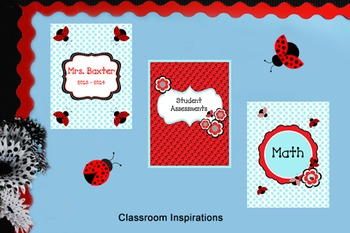Binder Covers and Spines - Coordinates with Ladybugs and D