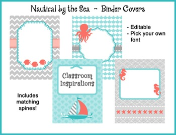 Binder Covers and Spines – Coordinates with Nautical by th