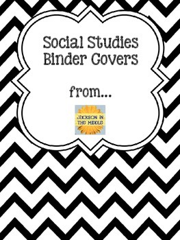 Binder Covers for Social Studies - Black Chevron Style