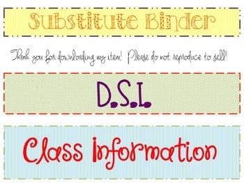 Binder Spine Labels **FREEBIE** Sub Binder, D.S.I., Class
