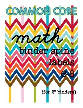 Binder Spine Labels for Math {6-8}