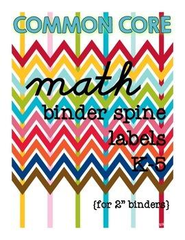 Binder Spine Labels for Math {K-5}