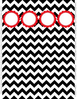 "Binder Spine Set (2"") - Black & White Chevron with Red Cus"