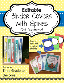 Binder covers with Spines- EDITABLE {Polka Dot}