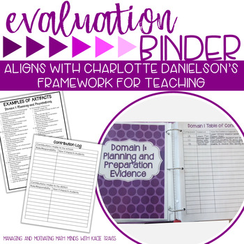 Teacher Evaluation Charlotte Danielson Binder Purple Theme