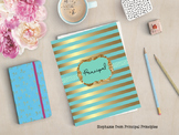 Turquoise and Gold Binder for Principal, Assistant Princip