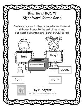 Bing! Bang! BOOM! Sight Word Center Game