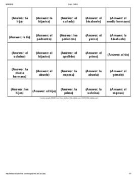Bingo Activity that corresponds with Descubre 1 Chapter 3-