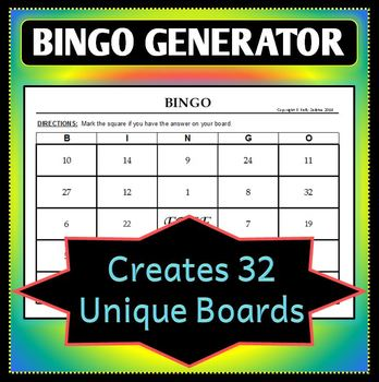 Bingo Board Generator - Creates 32 Unique Game Boards - Cu