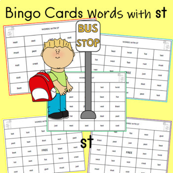 Bingo Cards Words with st