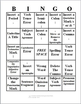 Bingo Cards and Markers (Companion to Editing Bingo PowerPoints)
