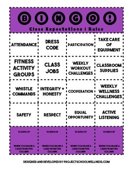 Bingo: Class Expectations and Rules (Back-to-school, Middl