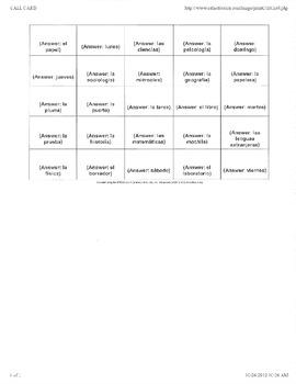 Bingo- Descubre 1- Chapter 2 Vocab