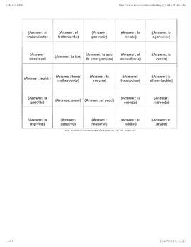 Bingo- Descubre 3- Chapter 4 Vocab