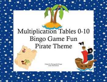 Bingo Game for Multiplication Tables 0-10- Boy & Girl Pira