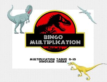 Bingo Game for Multiplication Tables 0-10 Dinosaur Theme