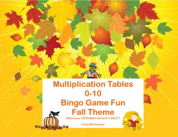Bingo Game for Multiplication Tables 0-10 Fall Theme CCSS.