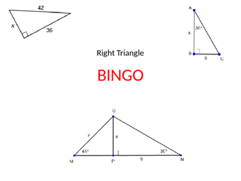 Bingo Game for Special Right Triangles
