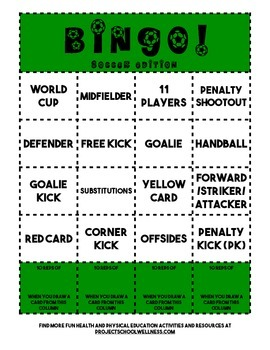 Bingo: Soccer Edition (PE, Health, Soccer Lesson Plan)