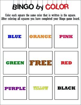 Bingo by Color Game
